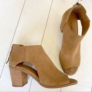 NEW Lucky Brand Keight Booties In Tan Suede